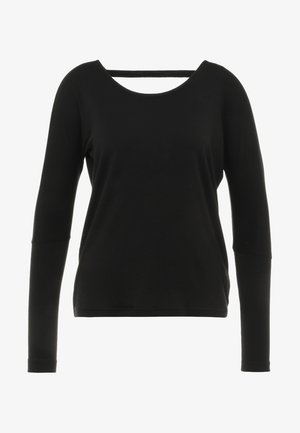 DRAPEY V BACK - T-shirt à manches longues - black