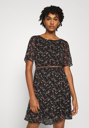 VMSYLVIA BELT SHORT DRESS - Day dress - black/rose flowers