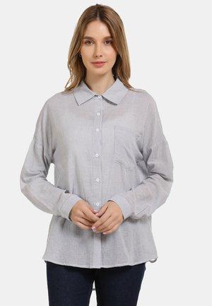 HEMDBLUSE - Button-down blouse - grau gestreift