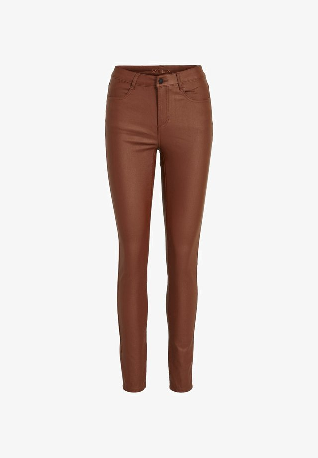 VICOMMIT COATED NEW PANT - Skinny-Farkut - tobacco brown