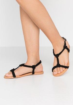 WIDE FIT JOJO TUBULAR TOE POST - Sandals - black