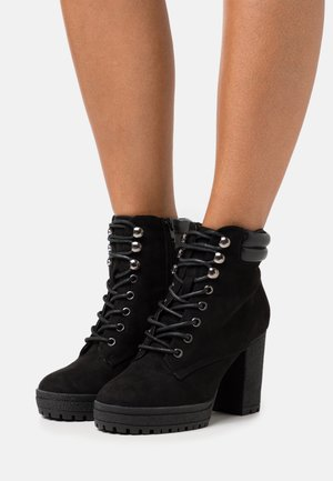 WIDE FIT BASE - Lace-up ankle boots - black