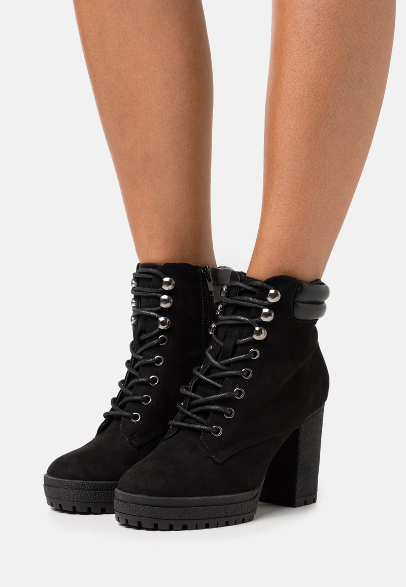 New Look Wide Fit - WIDE FIT BASE - Lace-up ankle boots - black