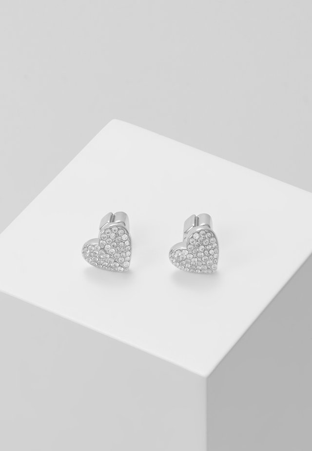 PAVE SMALL HEART STUDS - Earrings - clear/silver-coloured