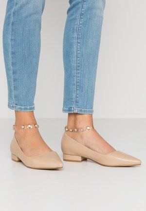 LEON - Ankle strap ballet pumps - nude