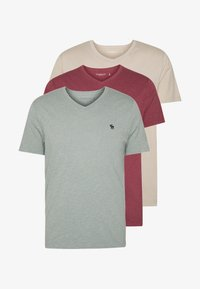 Abercrombie & Fitch - ICON VEE COLOR MULTIPACK 3 PACK - Camiseta básica - brown/green/burg - 5