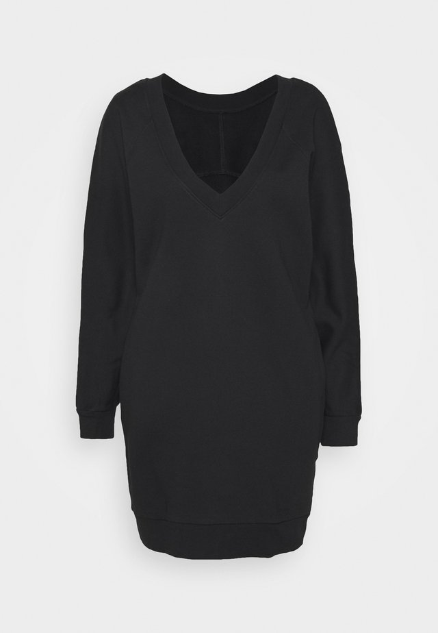 BACK V NECK LOGO DRESS - Day dress - black