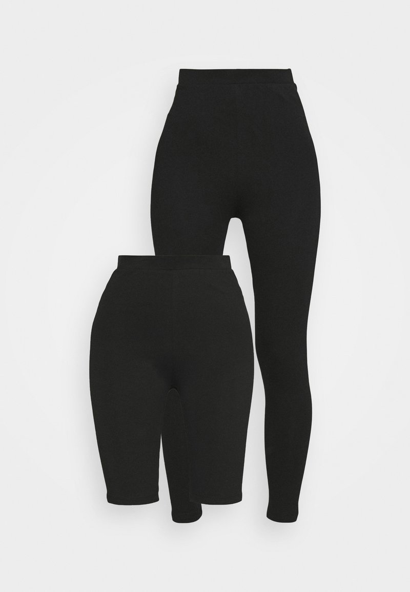 Even&Odd - LEGGING AND CYCLE SHORT SET - Szorty - black