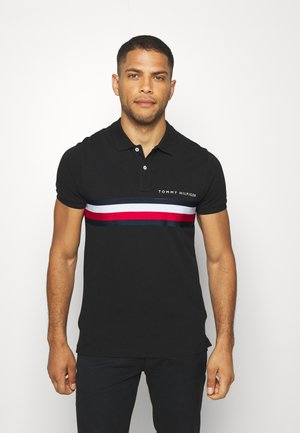 GLOBAL CHEST TAPE SLIM - Koszulka polo - black