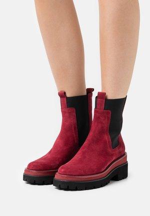 Platform ankle boots - crosta acero