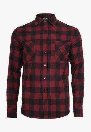 CHECKED - Overhemd - black/burgundy
