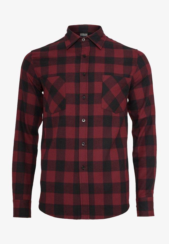 CHECKED SHIRT - Skjorter - black/burgundy