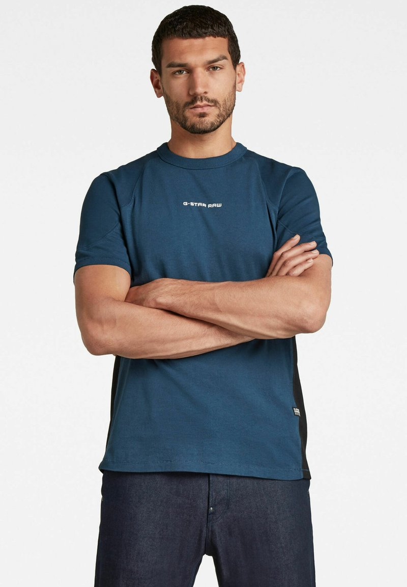 G-Star - MOTO NEOPRENE R T - T-shirt print - luna blue