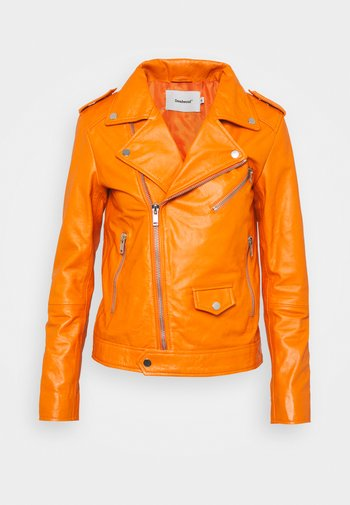 RIVER - Leather jacket - persimmon