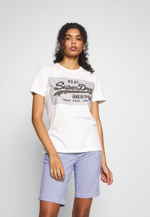 REFLECTIVE BOX ENTRY TEE - Print T-shirt - ecru