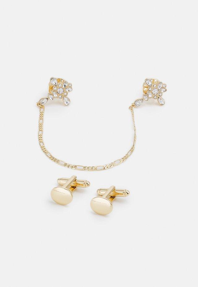 CROSS COLLAR TIPS WITH PLAIN CUFFLINKS SET - Övriga accessoarer - gold-coloured