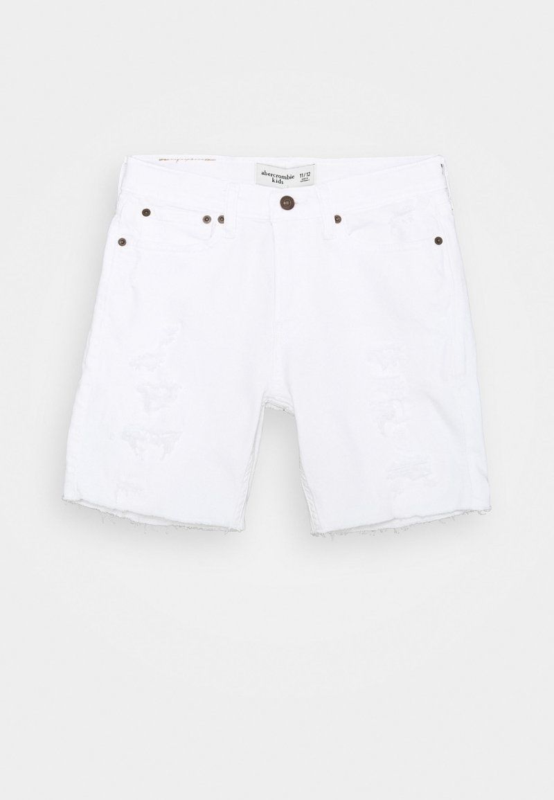 Abercrombie & Fitch - RAW HEM DESTROY - Denim shorts - white destroy