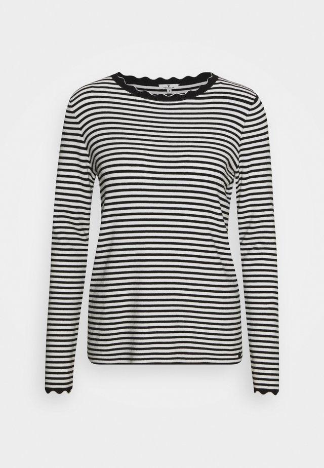 SCALLOP EDGE - Sweter - black/white