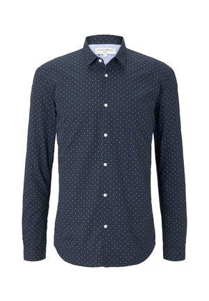 TOM TAILOR DENIM BLUSEN & SHIRTS WEICHES POPELINE-HEMD MIT MUSTE - Shirt - navy blue mint triangle print