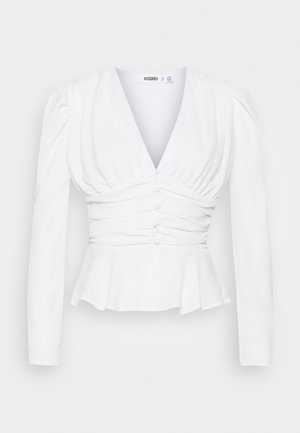 RUCHED PUFF SLEEVE PEPHEM TOP - Blouse - white