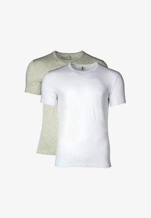 2ER PACK - CREW NECK, RUNDHALS, STRETCH  - Basic T-shirt - white/mottled light grey