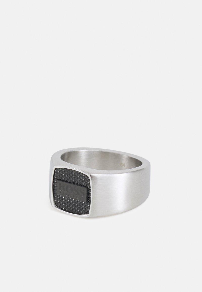 BOSS - SEAL - Anello - silver-coloured/black