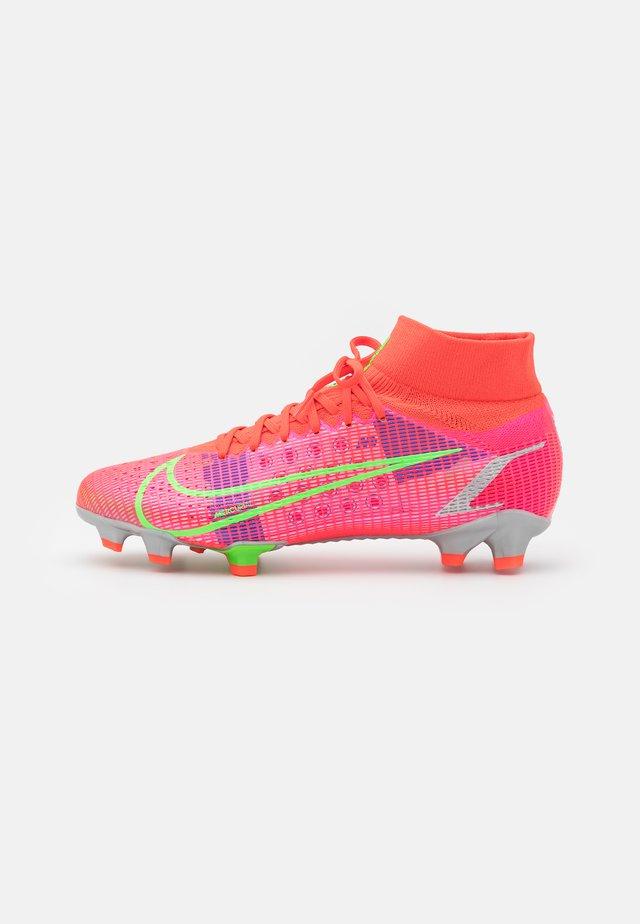 MERCURIAL 8 PRO FG - Moulded stud football boots - bright crimson/metallic silver