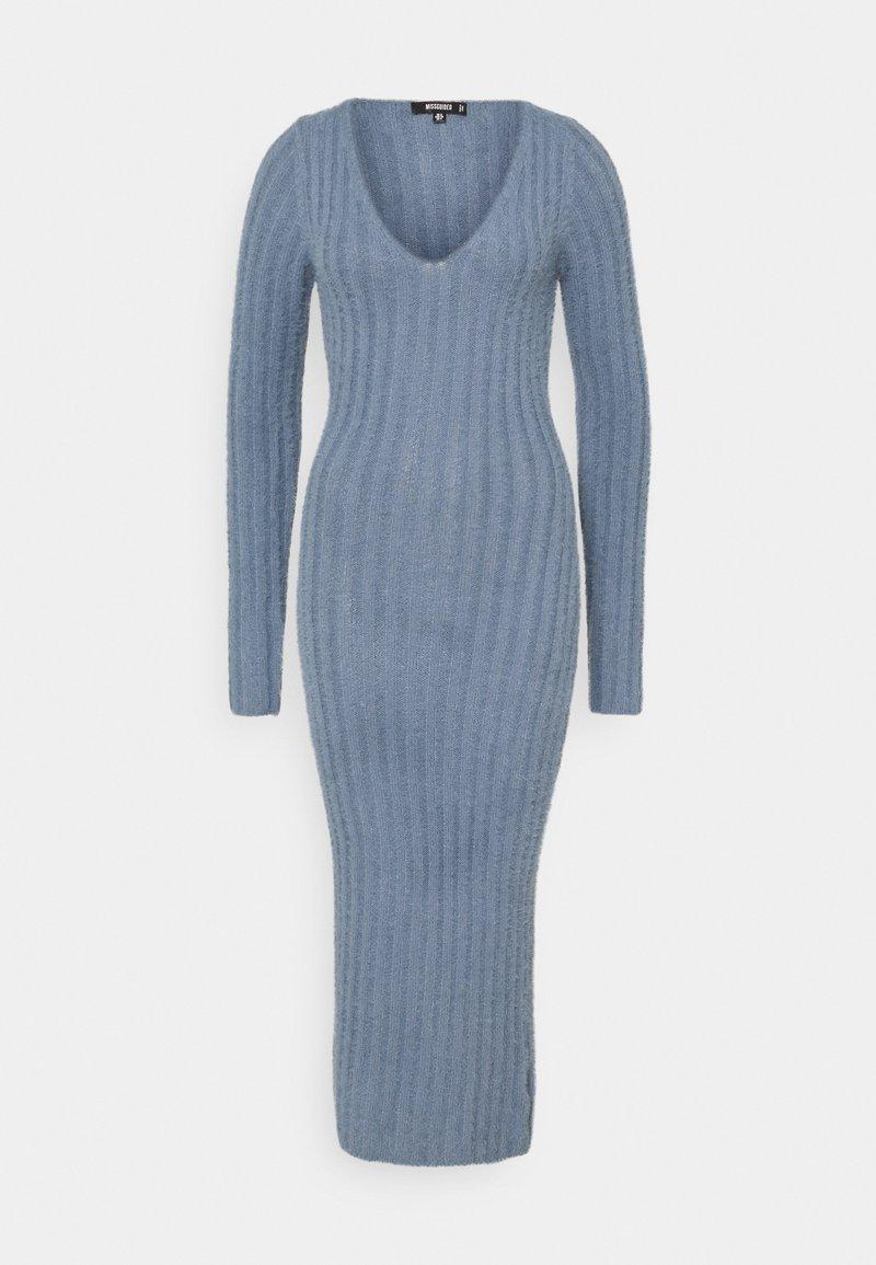 Missguided - FLUFFY MIDAXI DRESS - Strikket kjole - blue