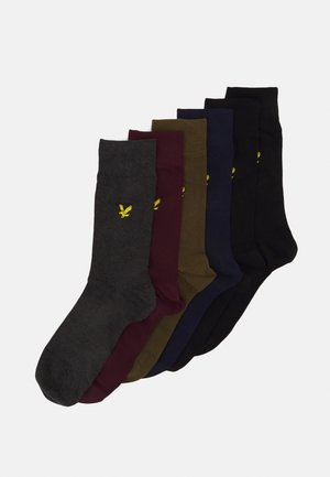 6 PACK - Socks - wine tasting/peacoat/dark olive/black/dark grey marl/black