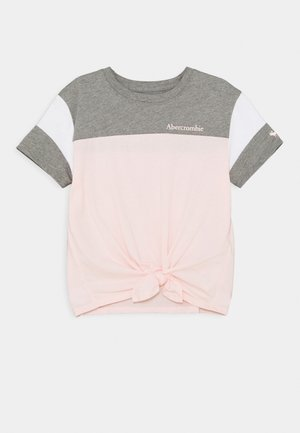SPORTY TIE FRONT - Print T-shirt - pink & grey