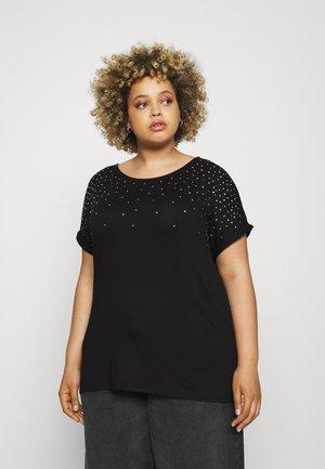 SPARKLE TRIM RELAXED - Print T-shirt - black
