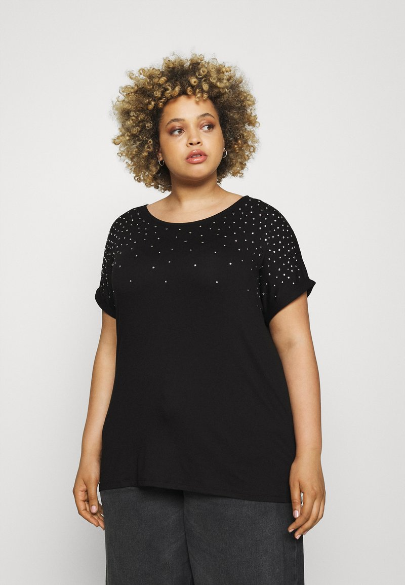 CAPSULE by Simply Be - SPARKLE TRIM RELAXED - Print T-shirt - black