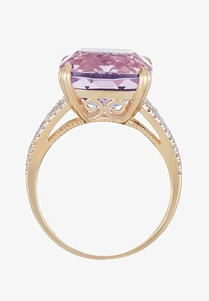 9K YELLOW GOLD RING CERTIFIED AMETHYST ROSE 7.92 CTS AND 40 DIAMONDS HP1 0.25 CT - Anillo - pink