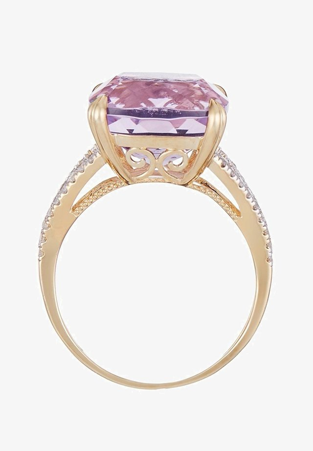 9K YELLOW GOLD RING CERTIFIED AMETHYST ROSE 7.92 CTS AND 40 DIAMONDS HP1 0.25 CT - Bague - pink