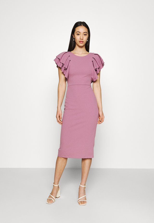 KENSLEY RUFFLE SLEEVE DRESS - Jerseyjurk - mauve pink