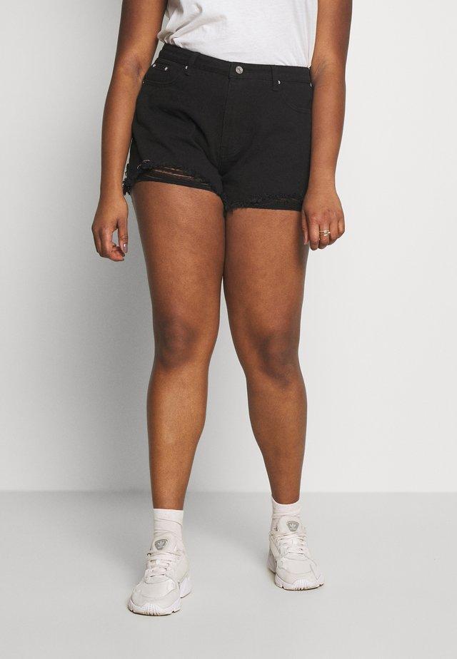 EXTREME FRAY HEM RIOT - Short en jean - black