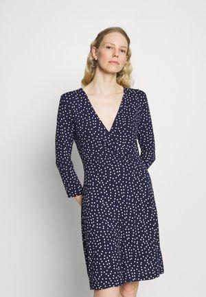 Quarter sleeves wrap mini dress - Jerseykjole - dark blue/white