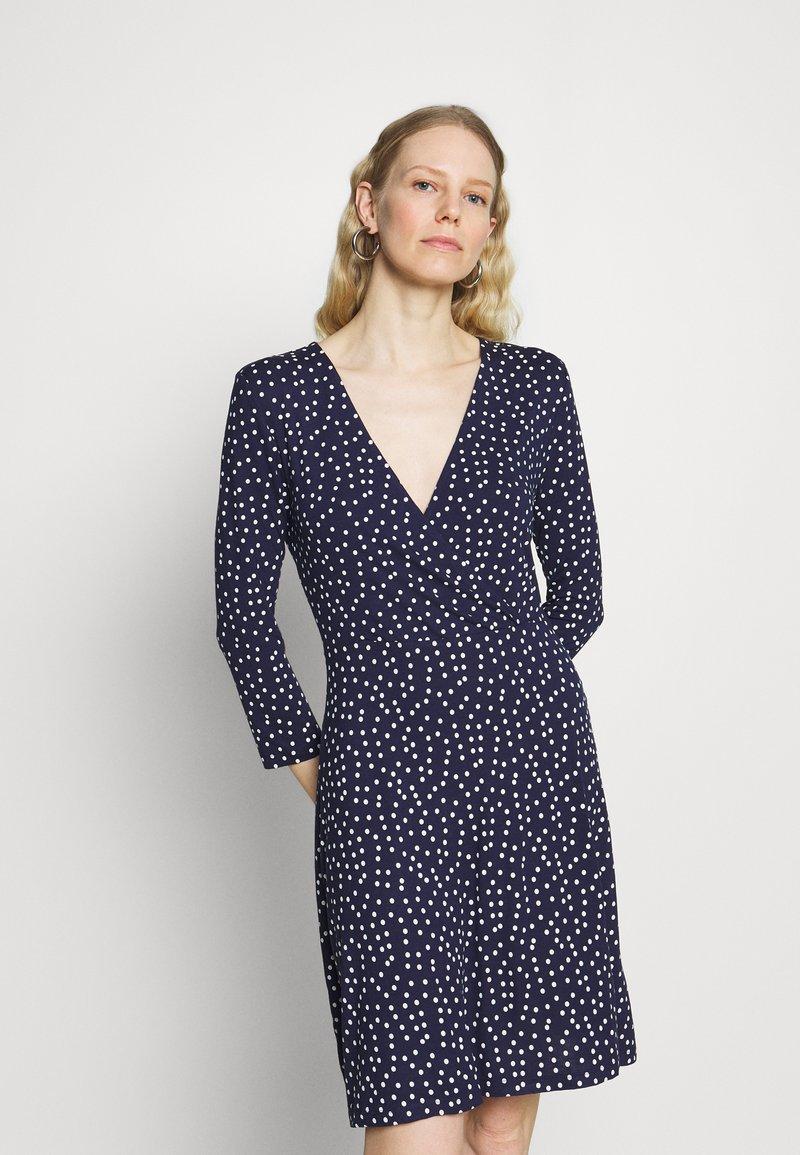 Anna Field - Quarter sleeves wrap mini dress - Jersey dress - dark blue/white