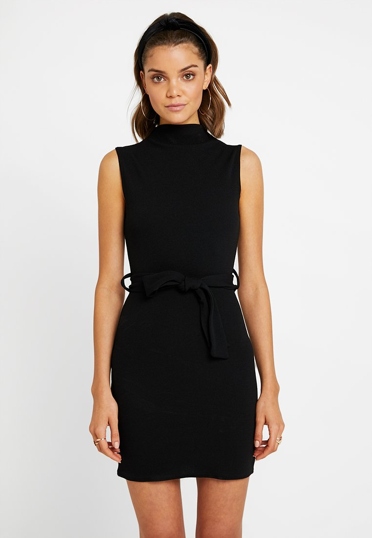 Missguided - HIGH NECK TIE WAIST MINI DRESS - Shift dress - black