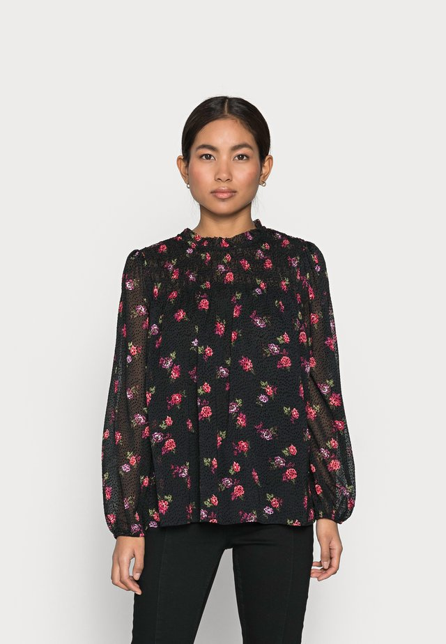 MOCK NECK SMOCKED RUFFLE CLIP DOT PRINT - Blouse - multi