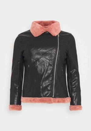 BIKER JACKET WITH LONG SLEEVES - Faux leather jacket - black/pink
