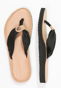 Tommy Hilfiger - LEATHER FOOTBED BEACH SANDAL - Infradito - black - 2