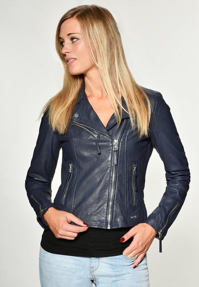 Leather jacket - ocean blue