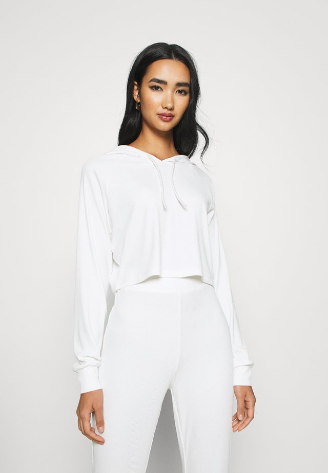 BASIC HOODIE - Long sleeved top - white