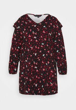 V NECK SHOULDER DETAIL SHIFT DRESS - Jersey dress - red