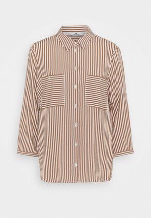 BLOUSE PRINTED STRIPE - Button-down blouse - camel/white