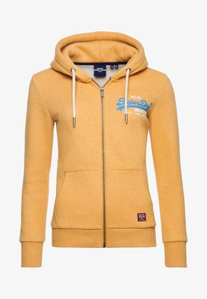 Zip-up hoodie - ochre marl