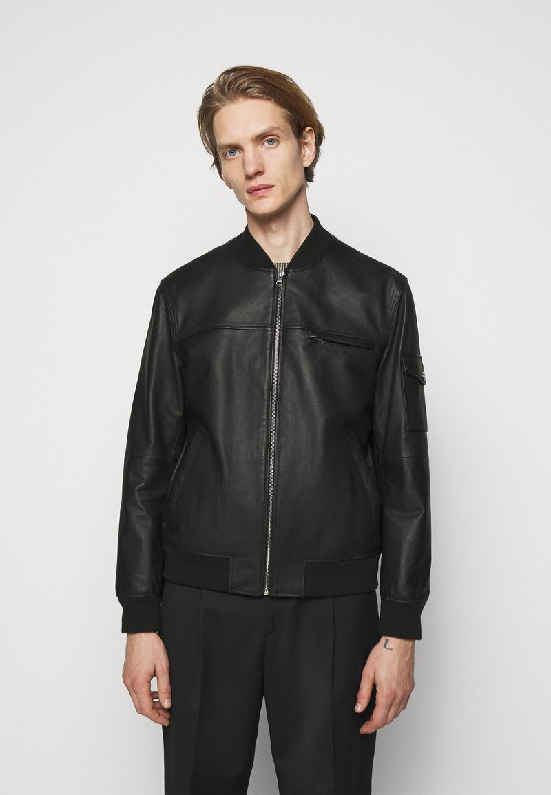 HUGO - LIVIUS - Leather jacket - black