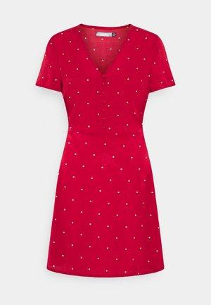 HALF BUTTON TEA DRESS  - Shirt dress - red polka