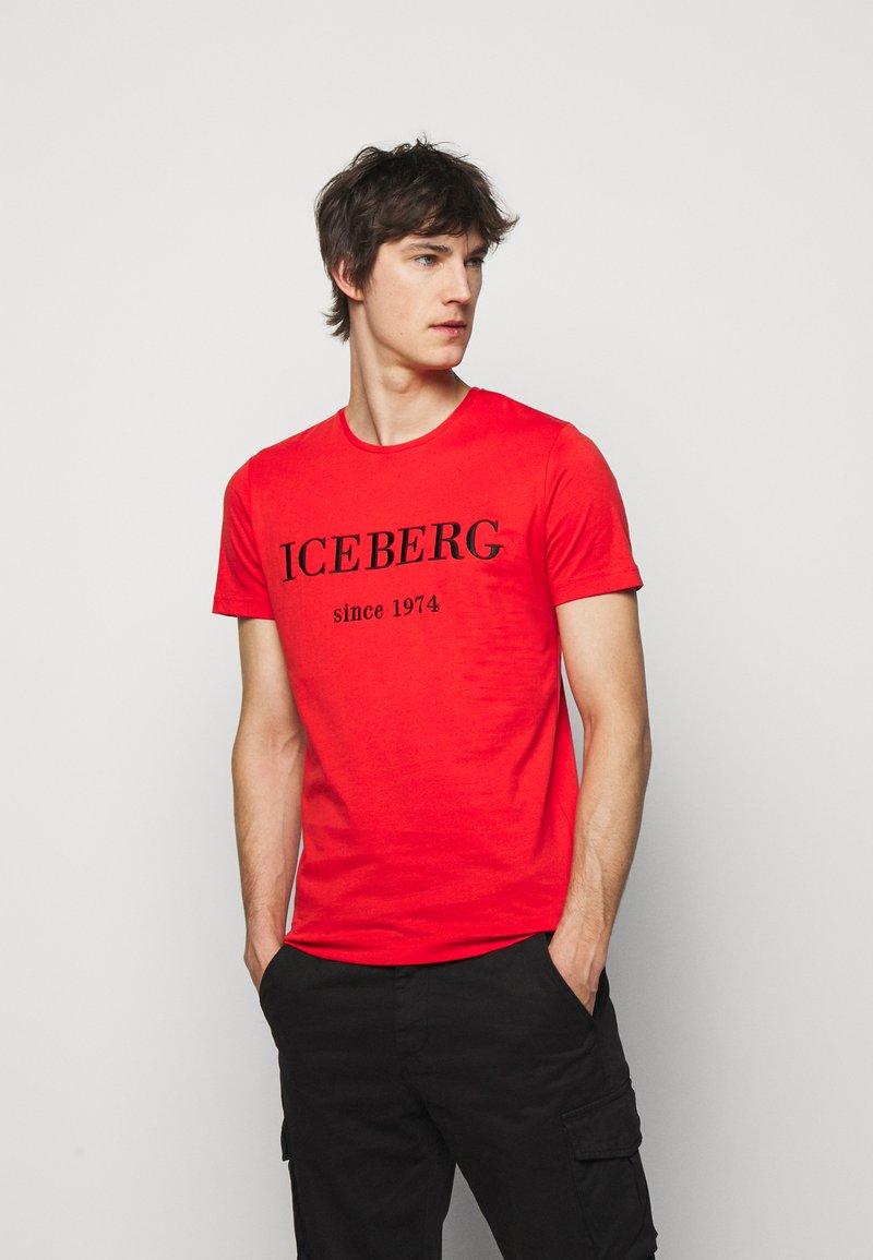 Iceberg - Print T-shirt - rosso fuoco